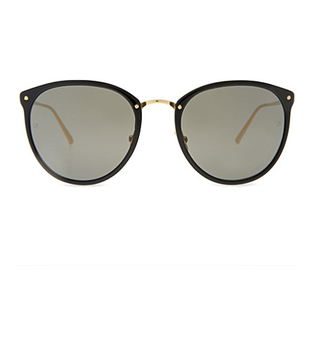 LINDA FARROW Lfl512 oval-frame sunglasses (Black yellow gold