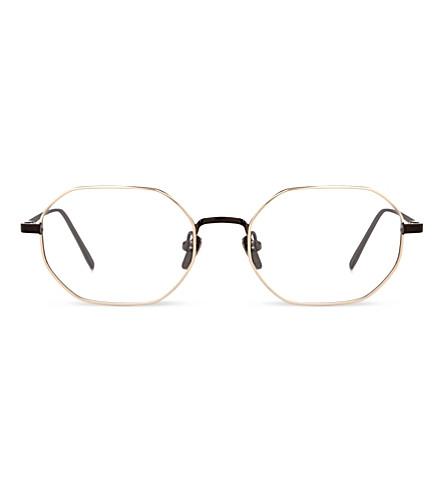 LINDA FARROW LFL520 C5 Round-frame optical glasses (Nickel+rose+gold