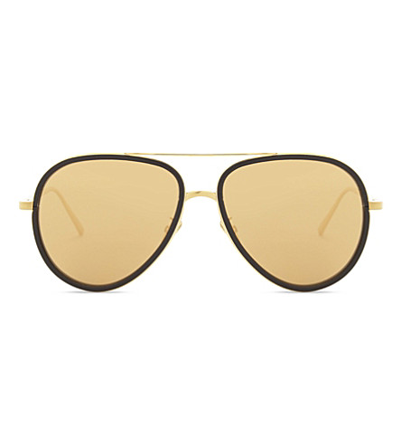 LINDA FARROW LFL539 aviator sunglasses (Black+yellow+gold