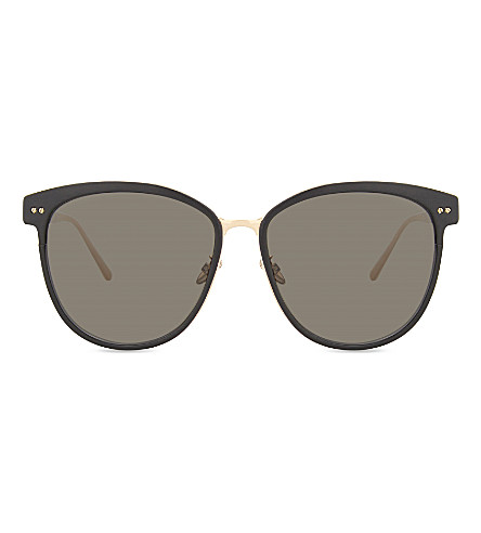 LINDA FARROW Lfl547 oversized sunglasses (Black+rose+gold
