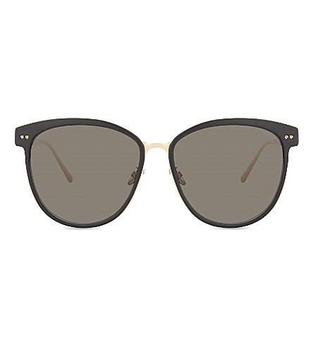 LINDA FARROW Lfl547 oversized sunglasses (Black+rose+gold