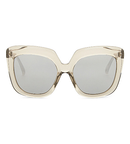 LINDA FARROW Oversized square-frame sunglasses (Clear