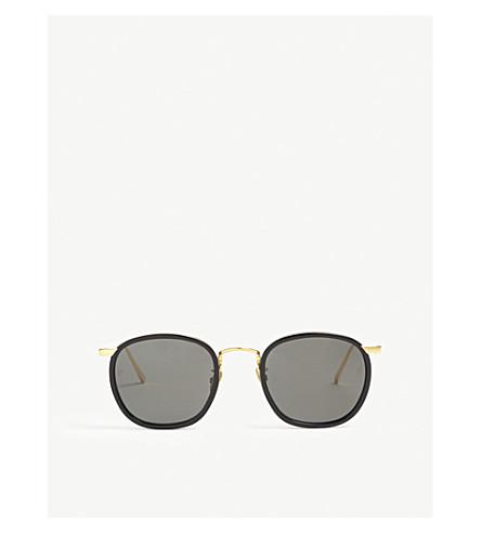 LINDA FARROW LFL562 oval-frame sunglasses (Black+gold