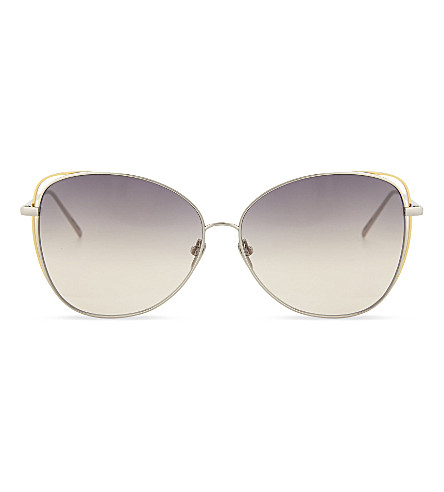 LINDA FARROW Lfl566 cat-eye sunglasses (White+gold