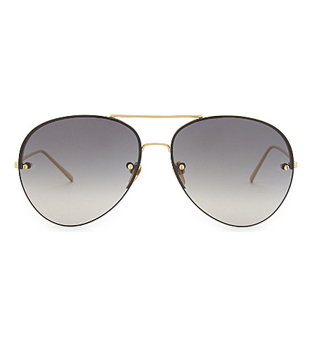 LINDA FARROW Lfl 574 aviator sunglasses (Gold