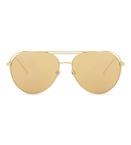 LINDA FARROW 575 C1 Aviator sunglasses (Gold