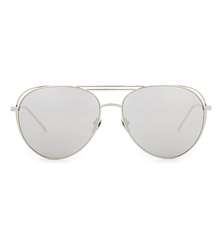 LINDA FARROW Lfl575 aviator sunglasses (White+gold