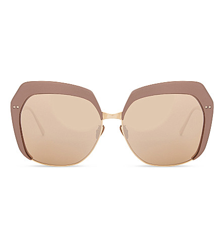 LINDA FARROW LFL578 C3 oversized square-frame mirror lens sunglasses (Copper