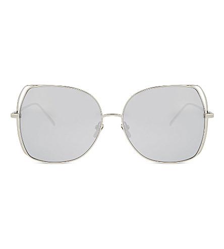 LINDA FARROW Lfl590 oversized sunglasses (White+gold
