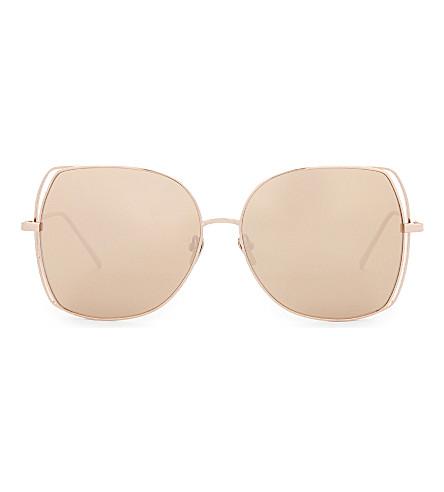 LINDA FARROW Lfl590 oversized-frame sunglasses (Rose+gold
