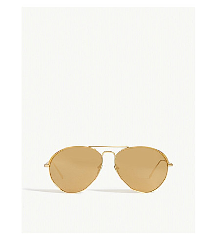 LINDA FARROW LFL594 aviator sunglasses (Yellow+gold