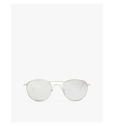 LINDA FARROW Lfl623 oval-frame sunglasses (White+gold