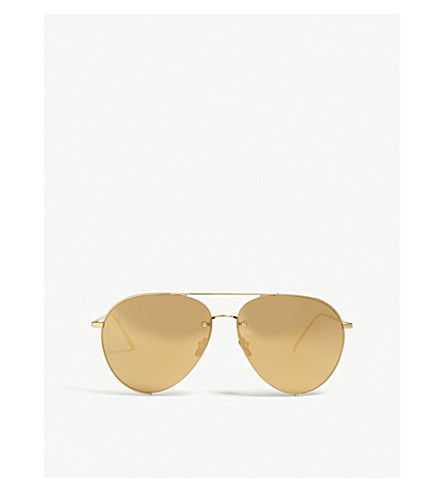 LINDA FARROW Lfl624 aviator sunglasses (Yellow+gold