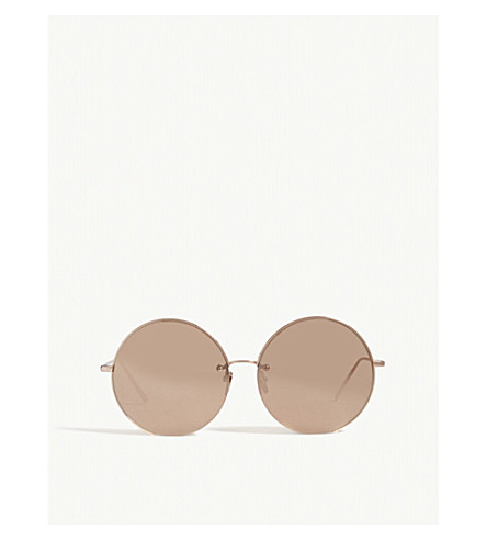 LINDA FARROW LFL626 rounded sunglasses (Rose+gold