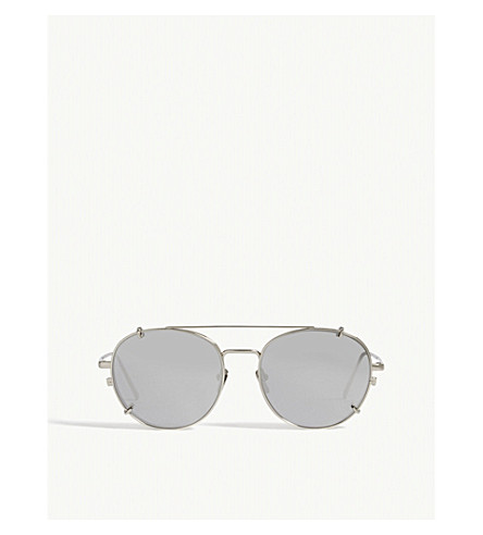 LINDA FARROW LFL646 oval-frame sunglasses (White+gold