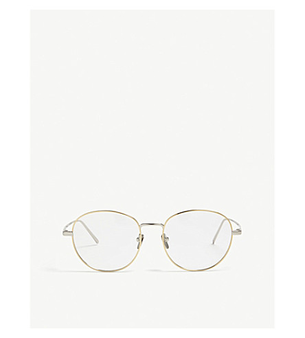 LINDA FARROW Lfl646 oval-frame sunglasses (White+yellow+gold