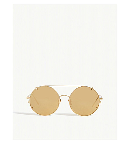LINDA FARROW LFL647 round sunglasses (Yellow+gold