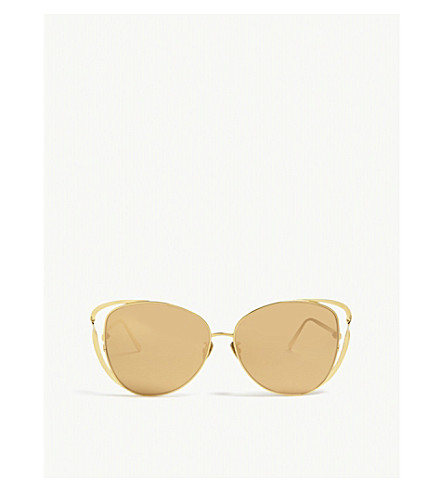 LINDA FARROW Lfl661 cat-eye ribbon sunglasses (Yellow+gold