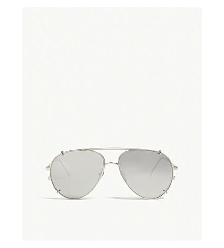 LINDA FARROW Lfl666 aviator-frame sunglasses (White+gold