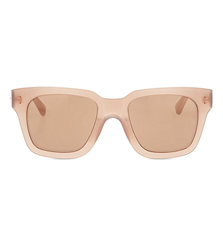 LINDA FARROW Mink acetate mirror lens sunglasses (Mink & mirror lens