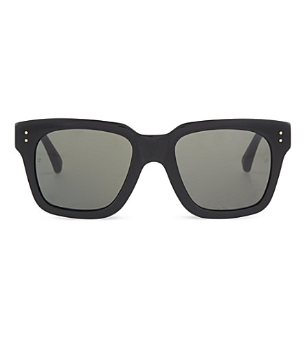 LINDA FARROW Thick square-rimmed acetate sunglasses (Black
