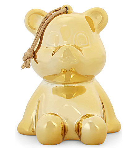 LINDA FARROW Julian the Bear baubles set of three 10cm (Gold
