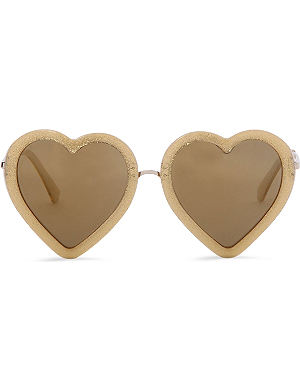 MARKUS LUPFER Heart framed gold glitter sunglasses