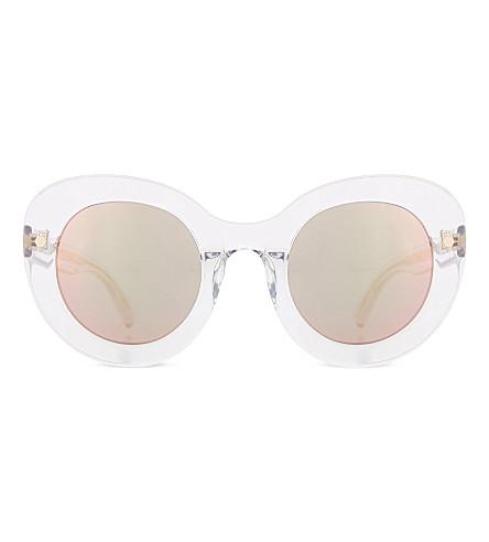 MATTHEW WILLIAMSON Oversized curved cateye sunglasses (Clear peach mirror