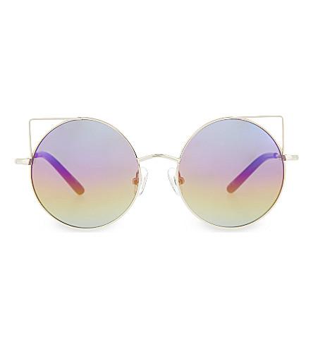 MATTHEW WILLIAMSON MW122 round cat-eye detail sunglasses (Light+gold+&+black