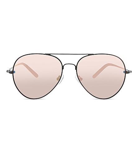 MATTHEW WILLIAMSON MW130 double bridge aviator sunglasses (Black+&+peach