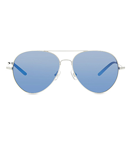 MATTHEW WILLIAMSON MW130 mirrored aviator sunglasses (Silver+&+black