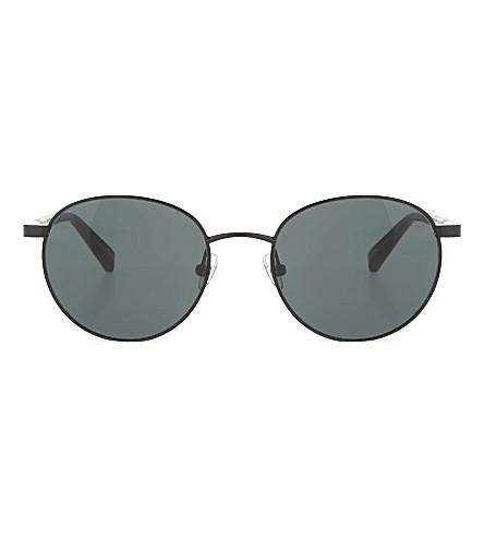 THE ROW Shiny black metal round-frame sunglasses (Black