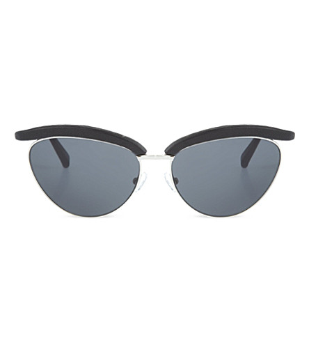 THE ROW Leather rimmed cat eye sunglasses (Black+lizard