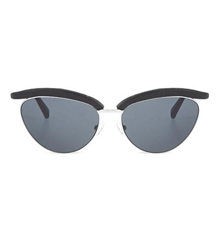 THE ROW 皮革镶边的猫眼太阳镜 (黑 + 蜥蜴