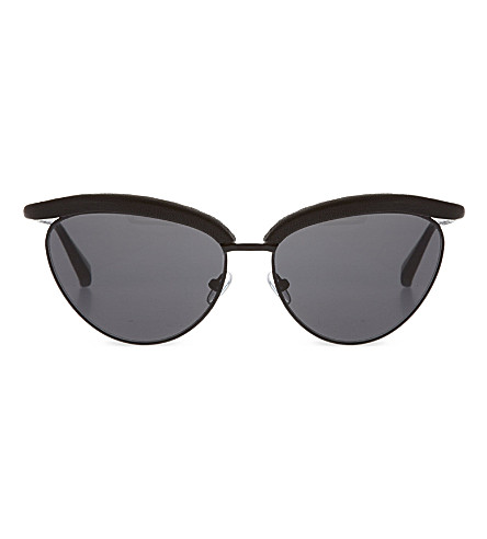 THE ROW Leather rimmed cat eye sunglasses (Black