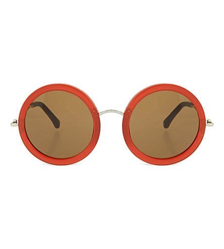THE ROW Acetate round sunglasses (Rust+&+walnut