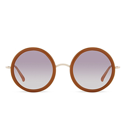 THE ROW ROW833 signature rounded sunglasses (Honey+white