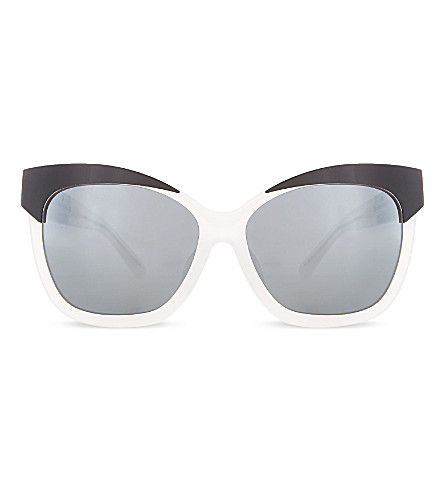 LINDA FARROW Angular cateye sunglasses (Ivory+black