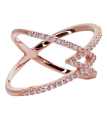 CARAT LONDON Orion millennium rose gold finish ring (White