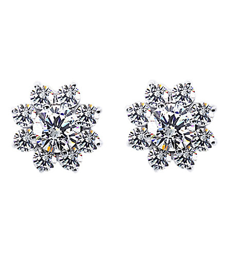 CARAT LONDON Round cluster solitaire studs