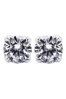 CARAT 1ct white gold rosy round stud earrings