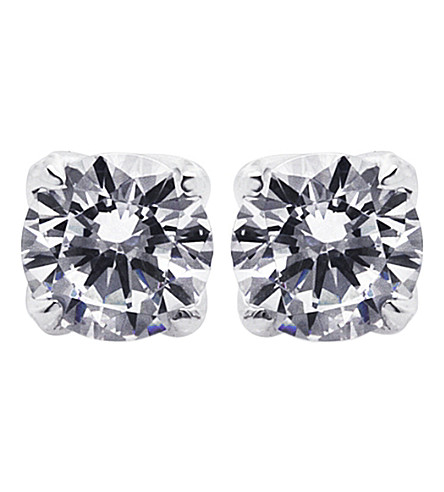 CARAT LONDON Rosy Round 1ct solitaire stud earrings (White