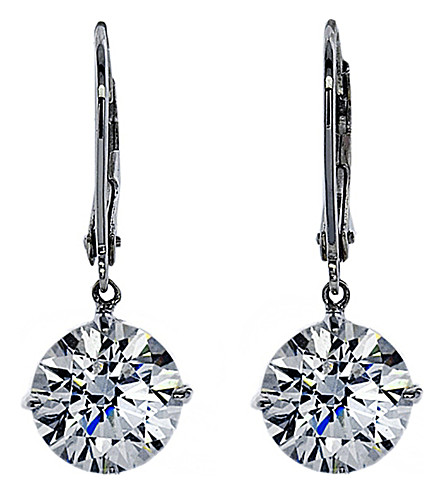 CARAT LONDON Euroback 2ct round drop earrings (White