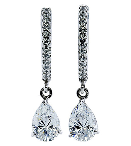 CARAT LONDON Classic microset 1ct pear drop earrings (White