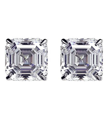 CARAT LONDON Asscher 1ct solitaire stud earrings (White