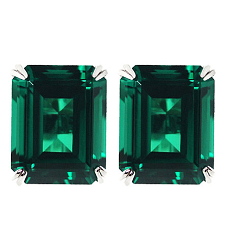 CARAT LONDON Emerald 1.5ct solitaire stud earrings (Green