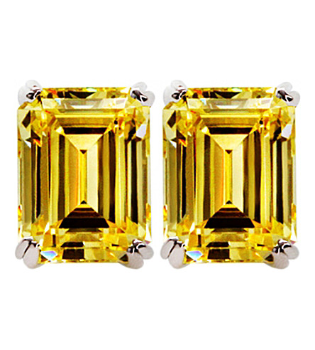 CARAT LONDON Canary 1.5ct Emerald solitaire stud earrings (Yellow