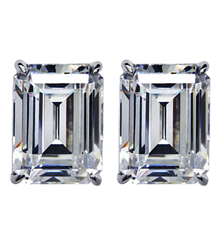 CARAT Emerald 1ct solitaire stud earrings (White