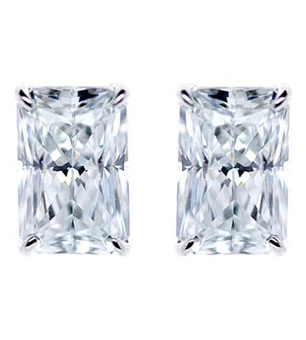 CARAT LONDON Simply Radiant 9ct white gold and 0.5ct solitaire studs