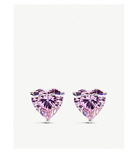 CARAT LONDON Hearts for You 9ct white gold and gemstone stud earrings (9kwg
